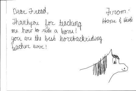 Horse drawing thank you card
